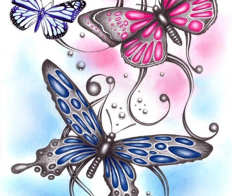 3 butterflies tattoo designs
