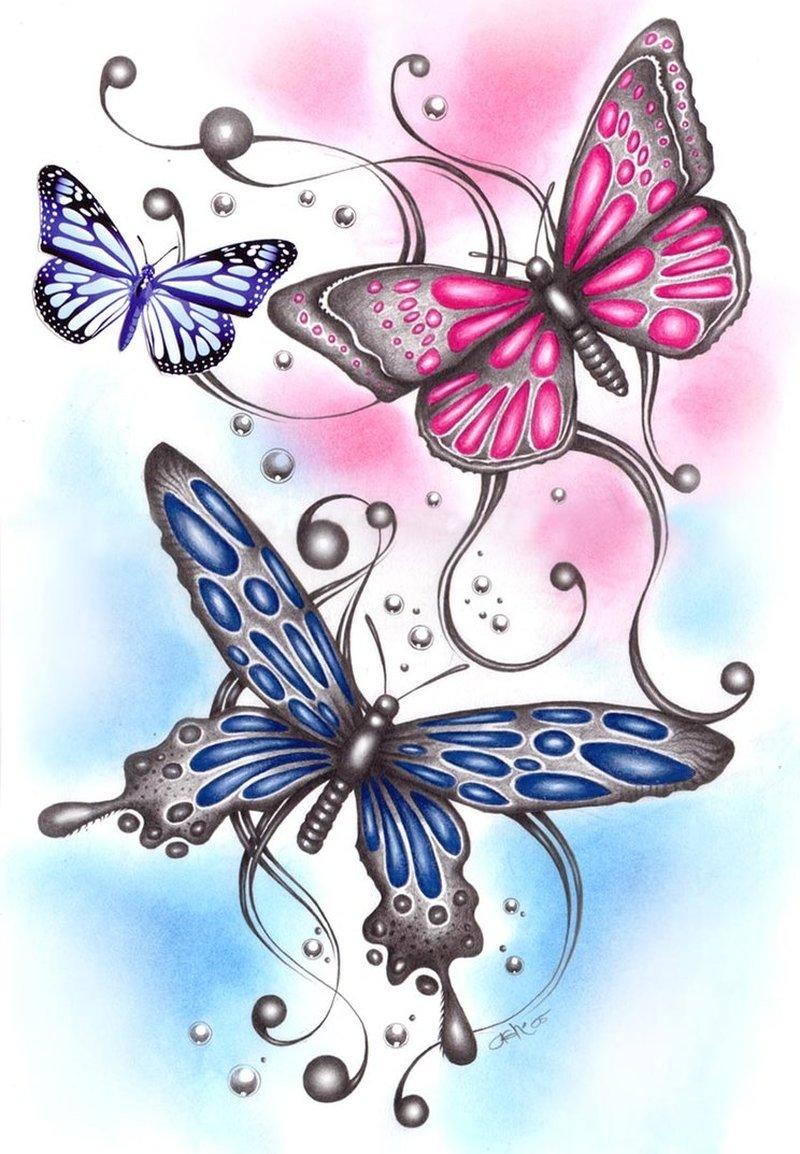 3 butterflies tattoo designs