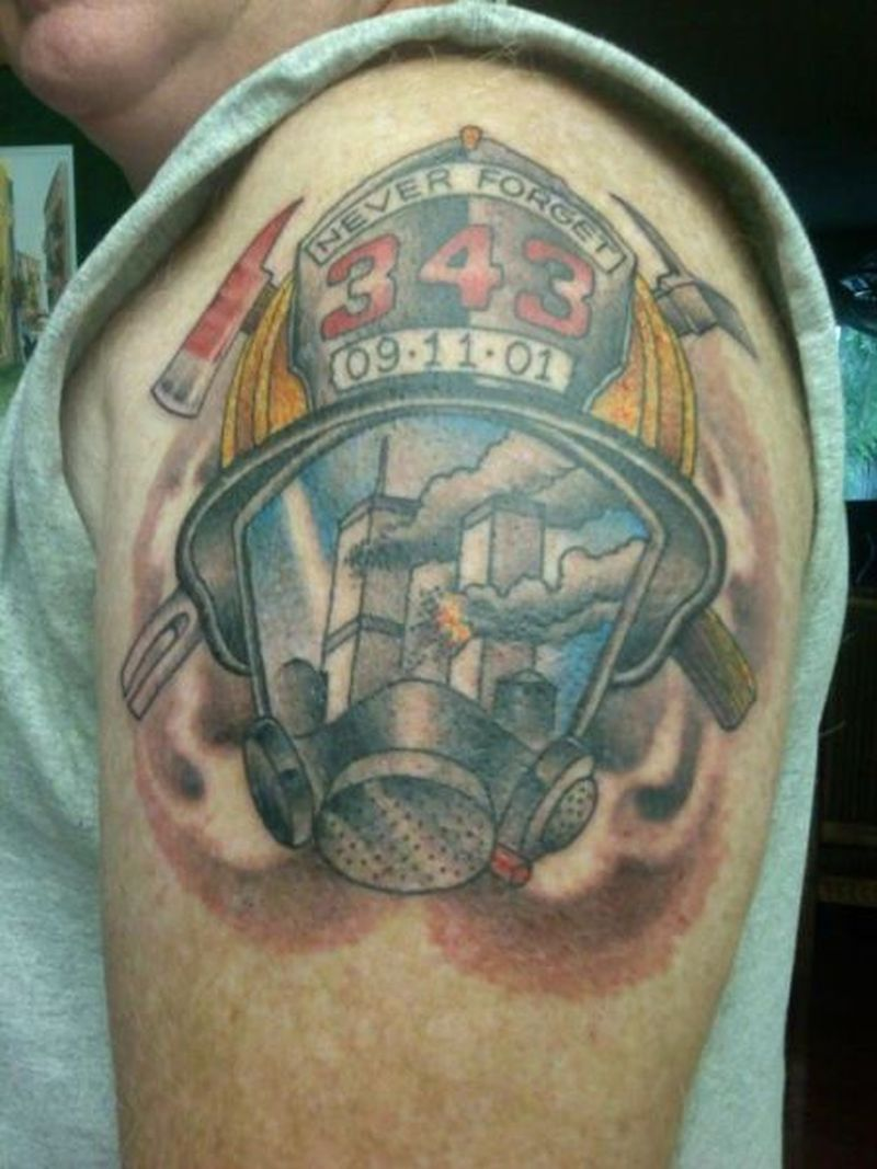 343 firefighter tattoo on shoulder