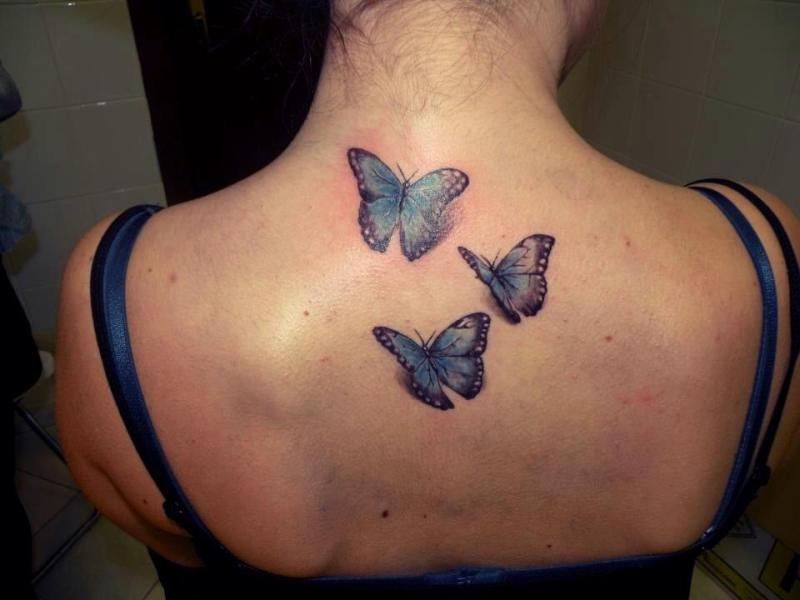 7a1a30569 3d butterflies tattoo on upper back - Tattoos Book - 65.000 Tattoos ...
