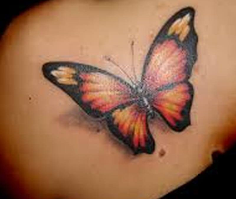 3d butterfly insect tattoo on back shoulder 2