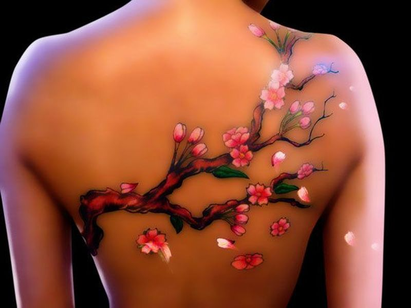 3d cherry blossom tattoo on back