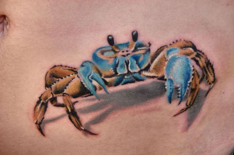 3d crab tattoo on belly