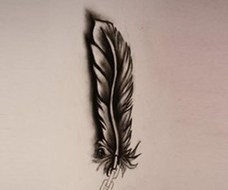 3d dark feather tattoo design