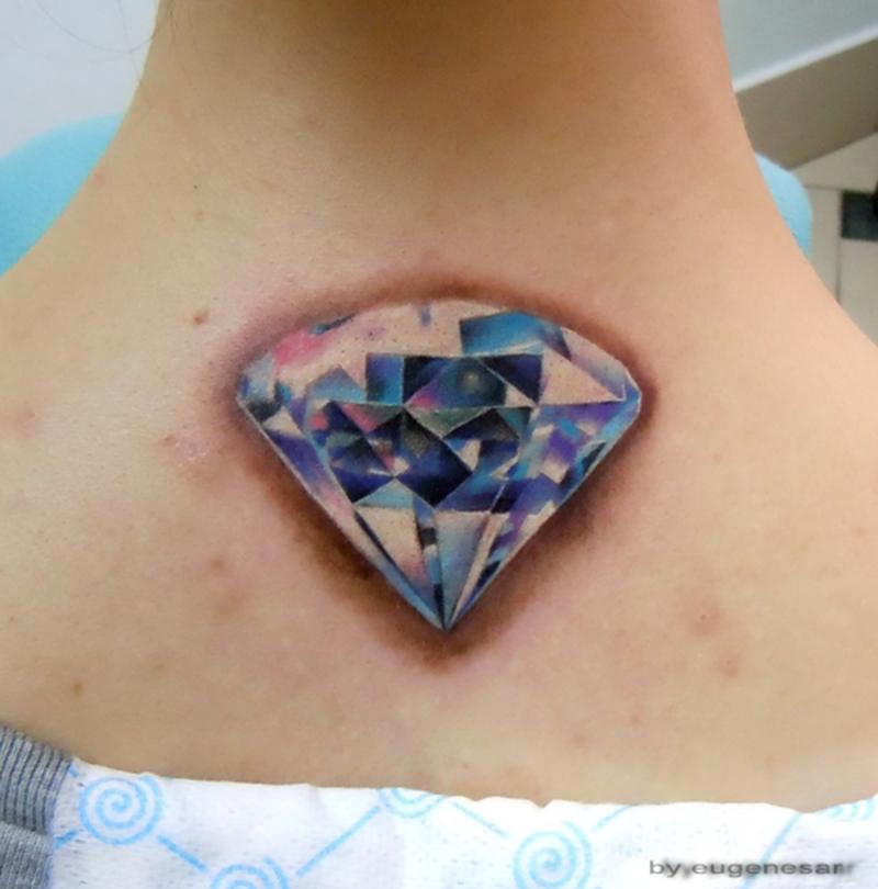 3d diamond tattoo on neck back