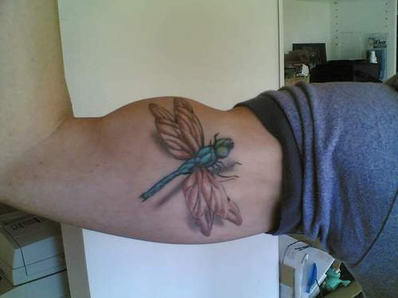 3d dragonfly tattoo on muscles