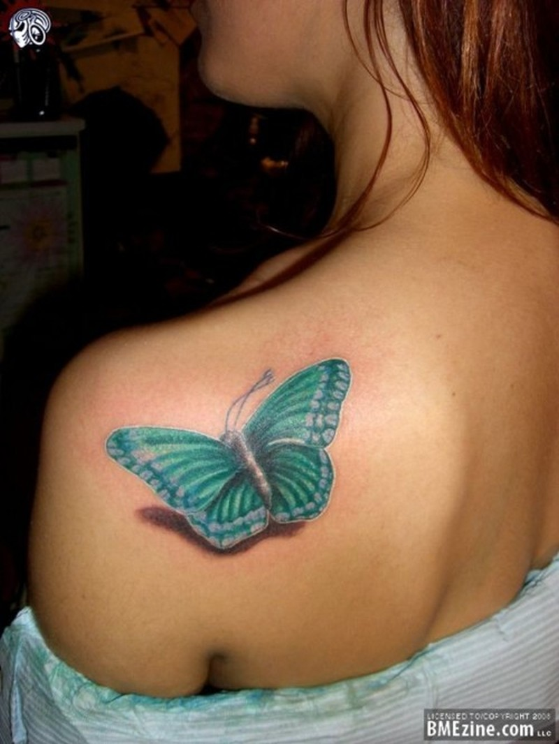 3d insect tattoo on back shoulder for girls
