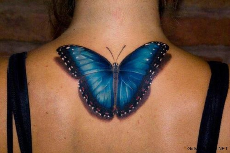 3d insect tattoo on upper back for girls