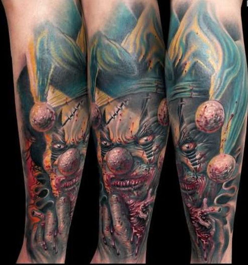 3d zombie joker tattoo on leg