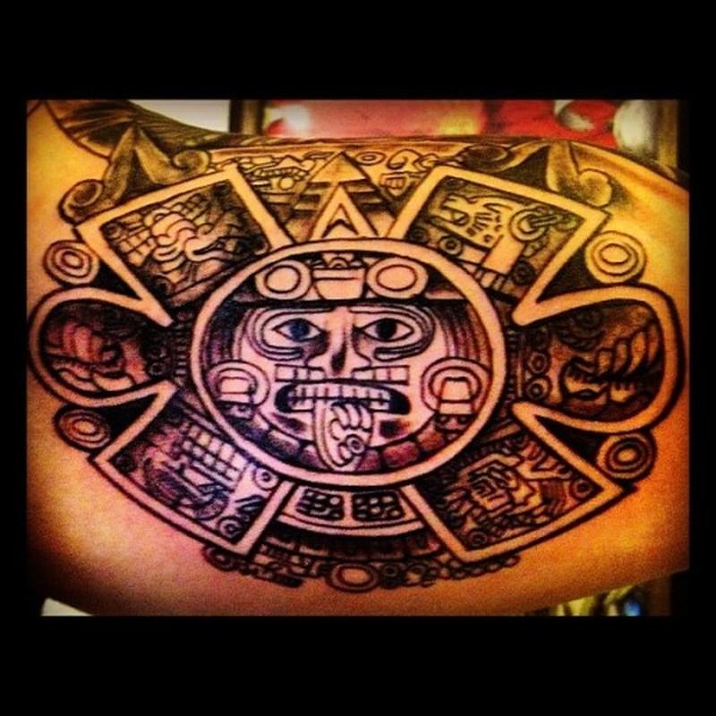 7 ink aztec sun tattoo
