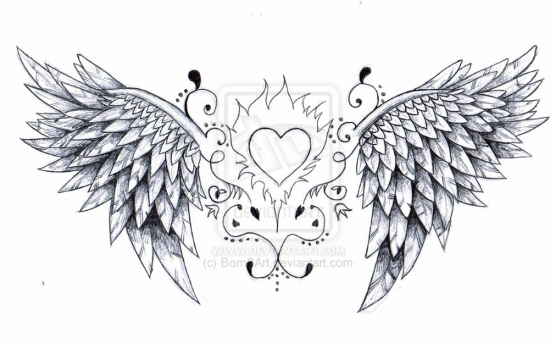 angel wings and heart tattoos designs tattoos book tattoos designs. Black Bedroom Furniture Sets. Home Design Ideas