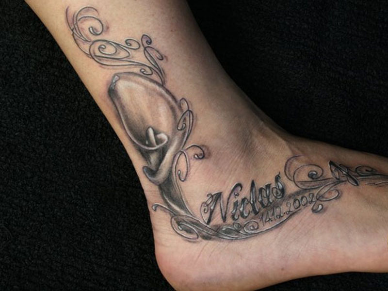 Ankle And Calf Tattoos For Women