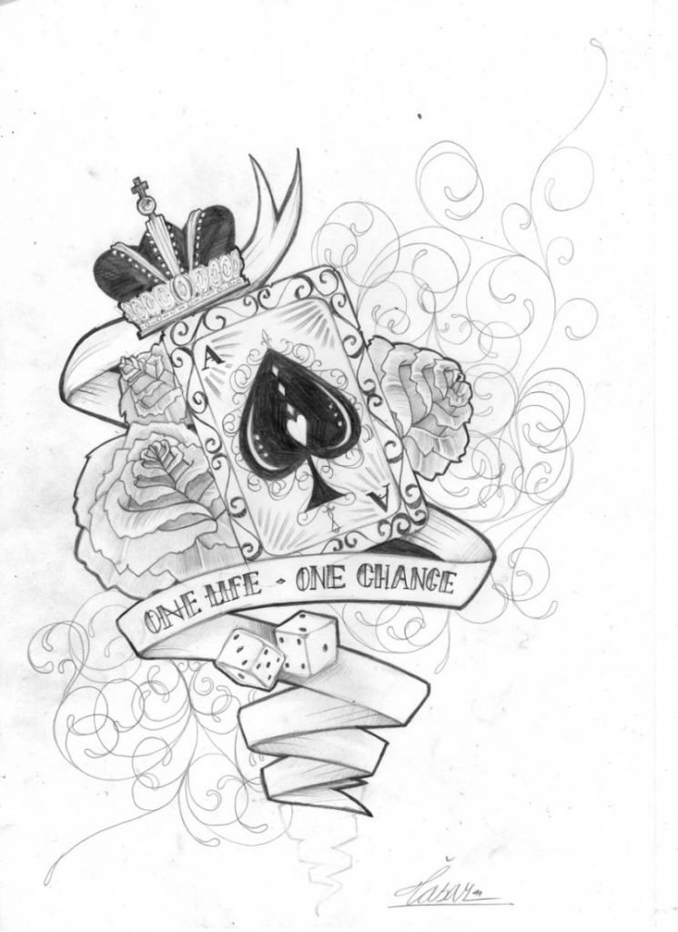 Awesome tattoo designs drawings tattoos book for Card tattoo designs