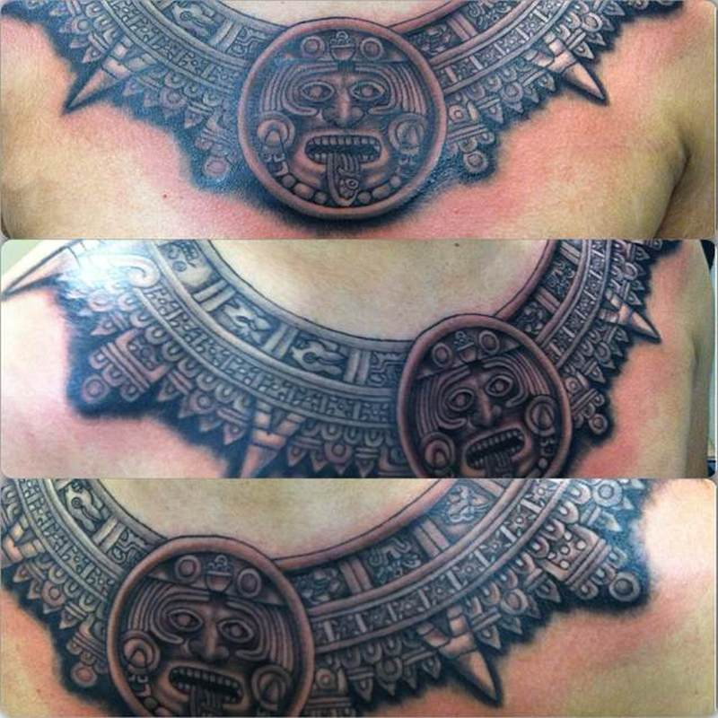 aztec calendar tattoo chest tattoos book tattoos designs. Black Bedroom Furniture Sets. Home Design Ideas