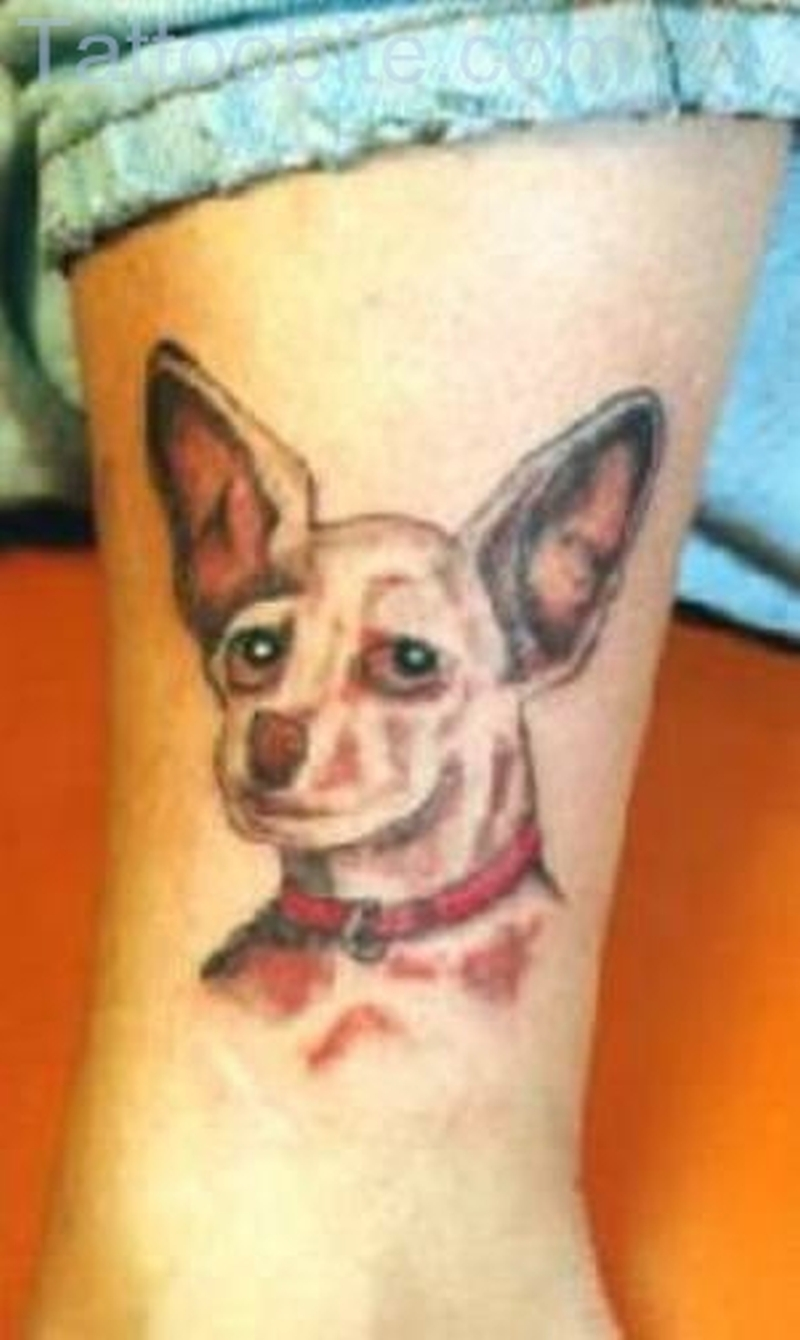 Big Ear Dog Tattoo On Leg