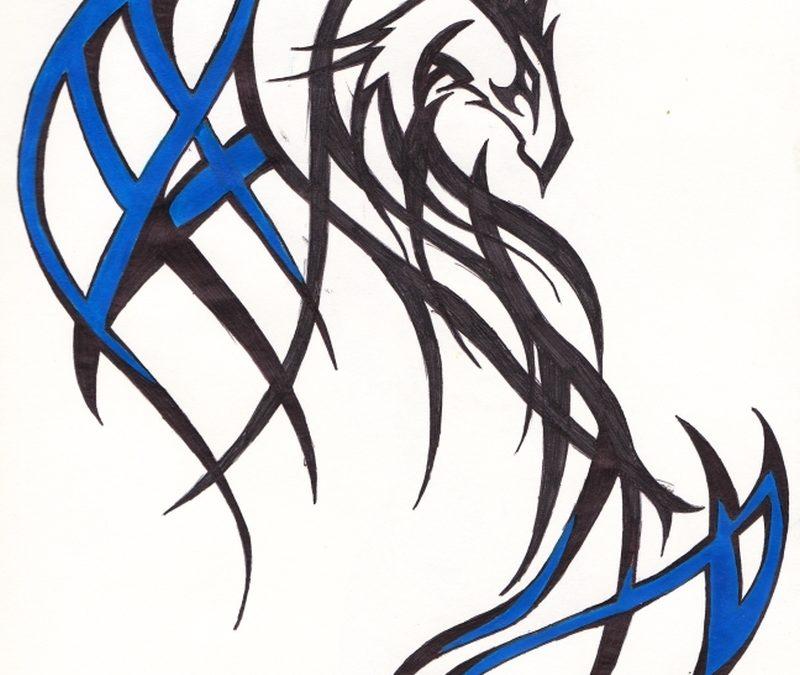 Black And Blue Dragon Tattoo