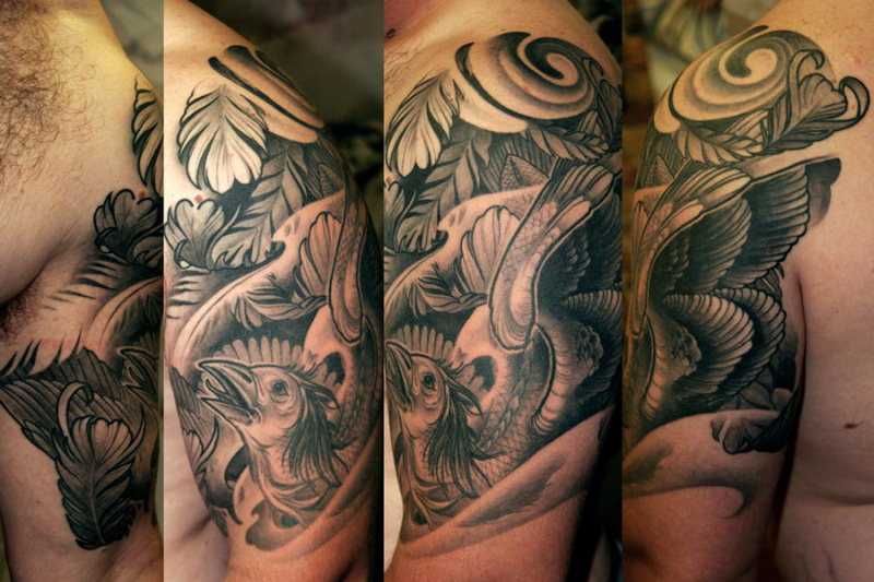 Black And Grey Phoenix Tattoos