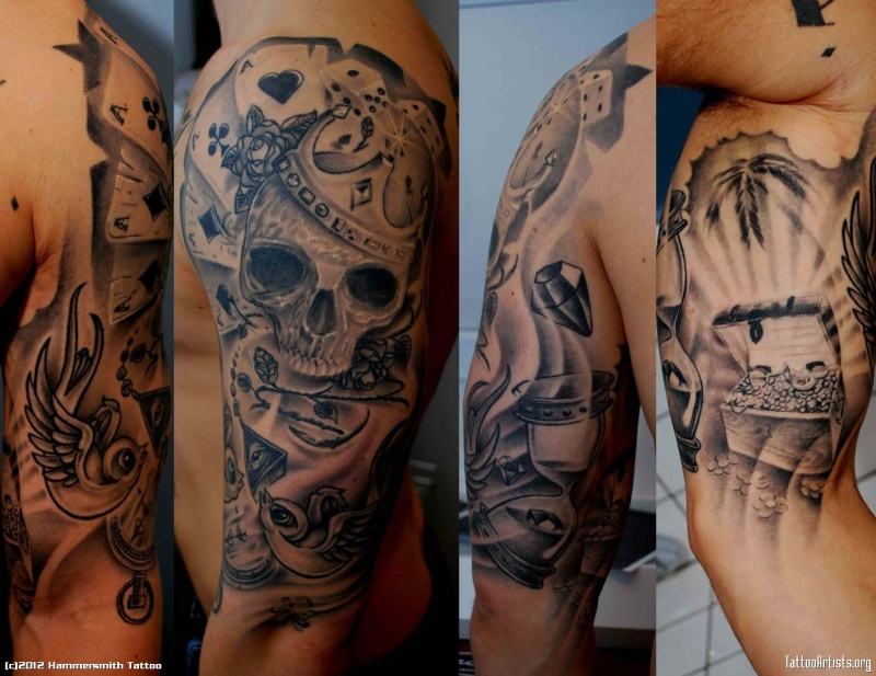 Black And Grey Sleeve Tattoos
