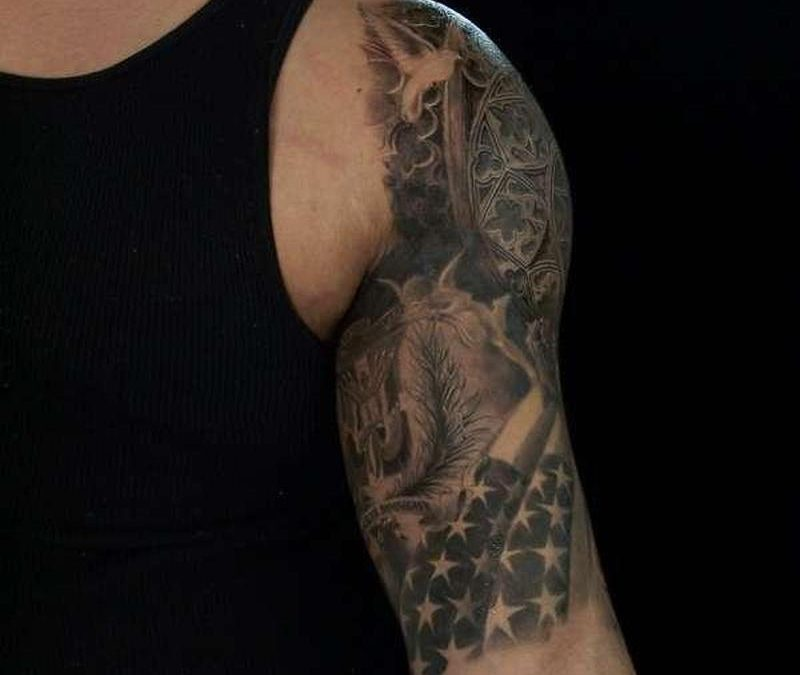 Black And White American Flag Tattoo Designs
