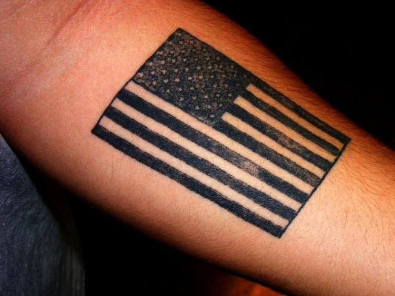 Black And White American Flag Tattoo