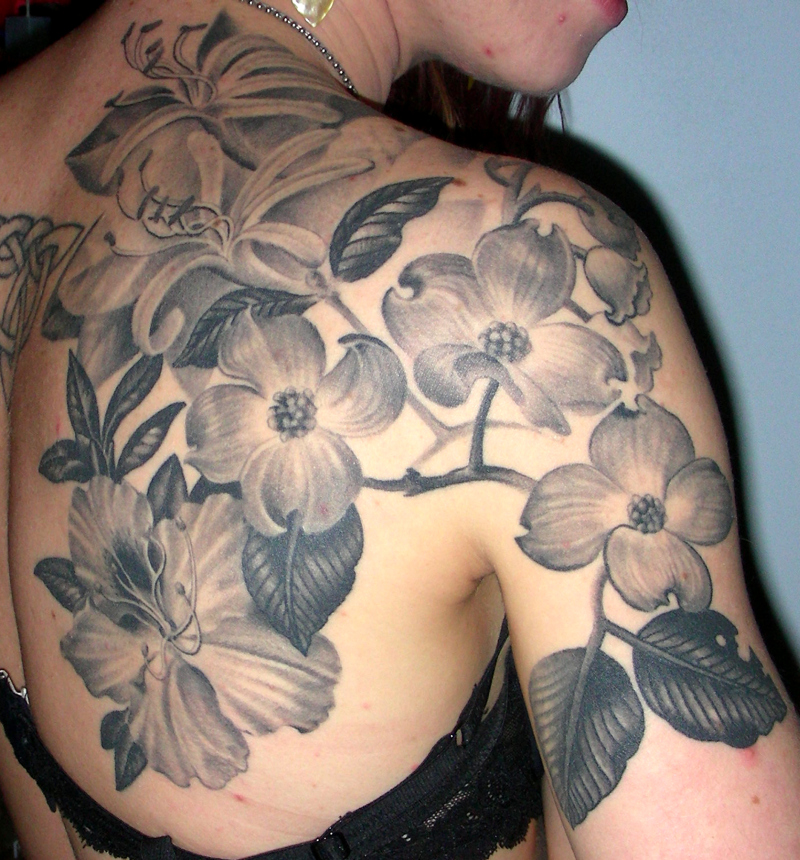 Black And White Floral Tattoos