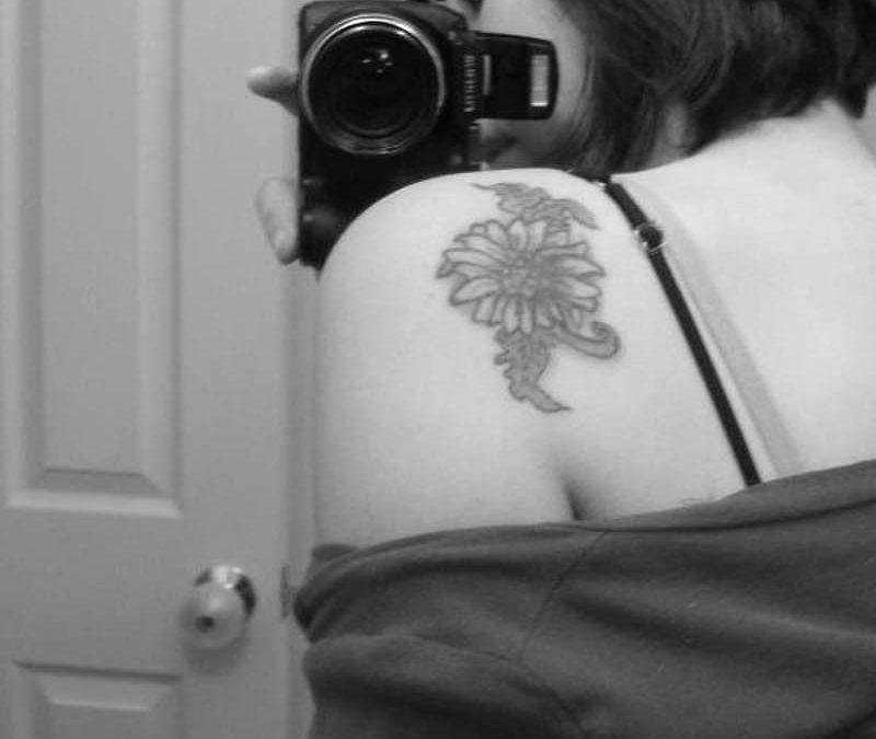 Black And White Sunflower Tattoo Shoulder