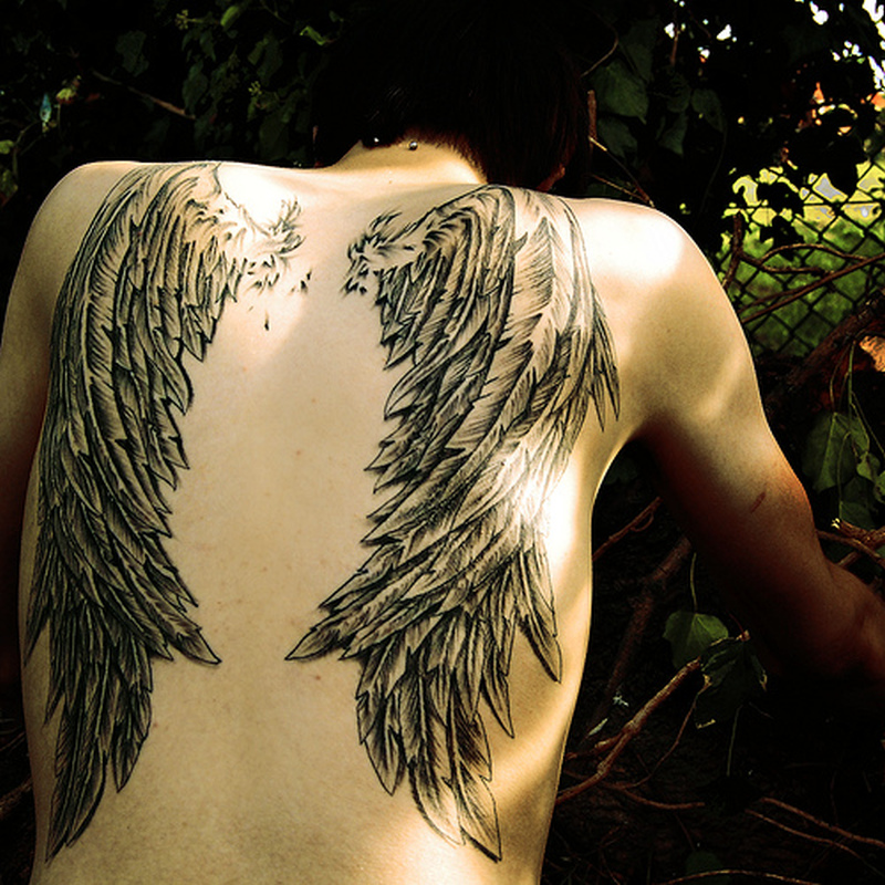 Black Angel Wing Tattoos