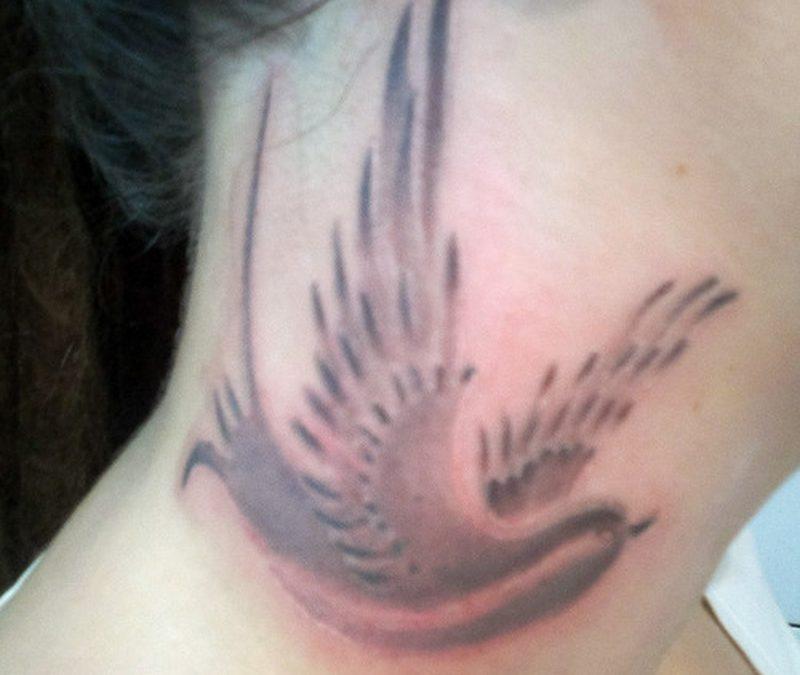 Black Bird Tattoos On Neck
