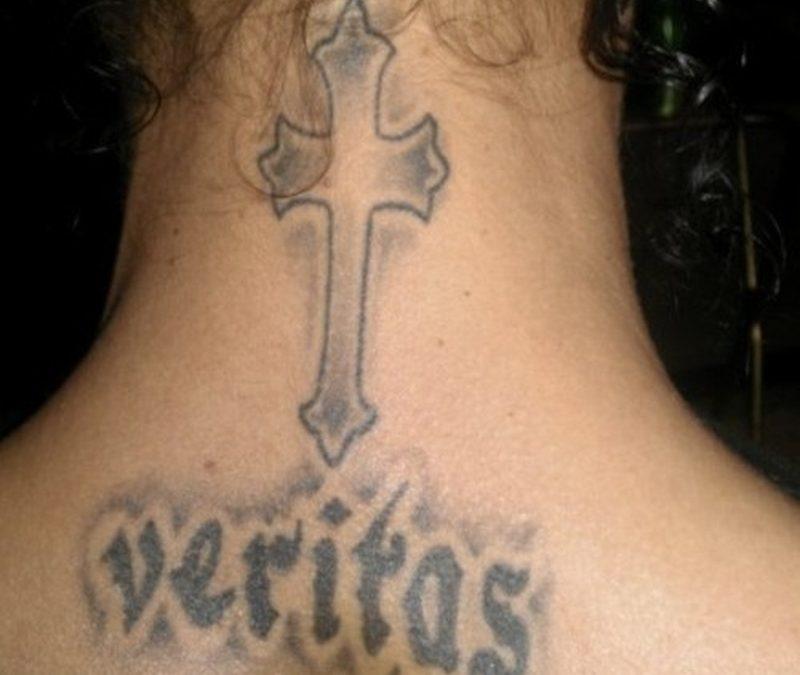 Black Cross Tattoo On Neck