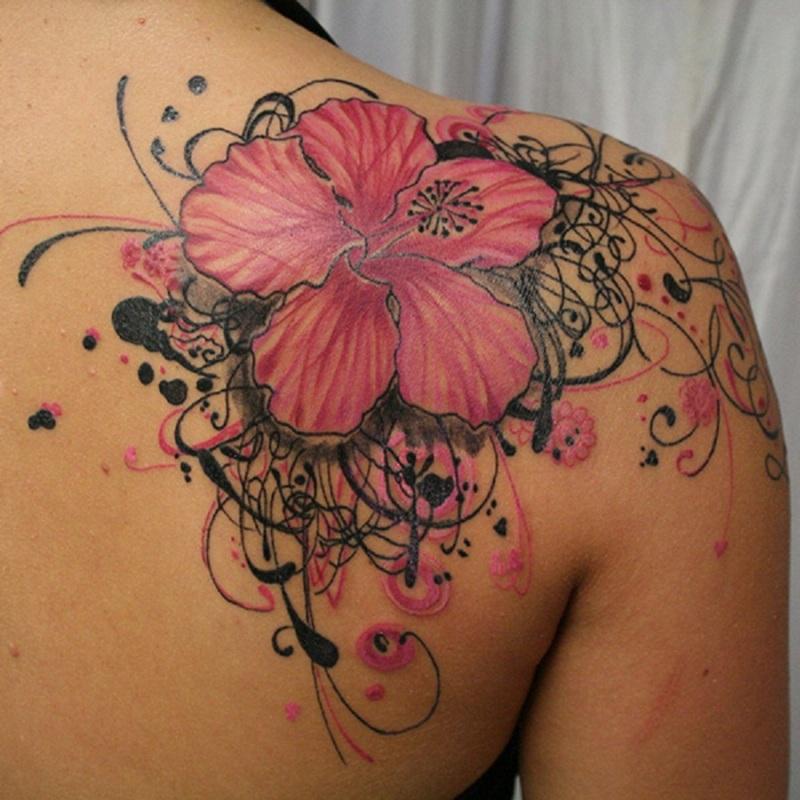 Black Floral Tattoos Designs
