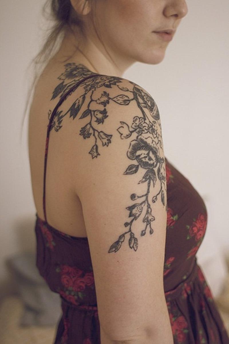 Black Flower Tattoos For Women