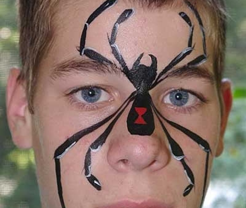 Black Spider Tattoo On Face
