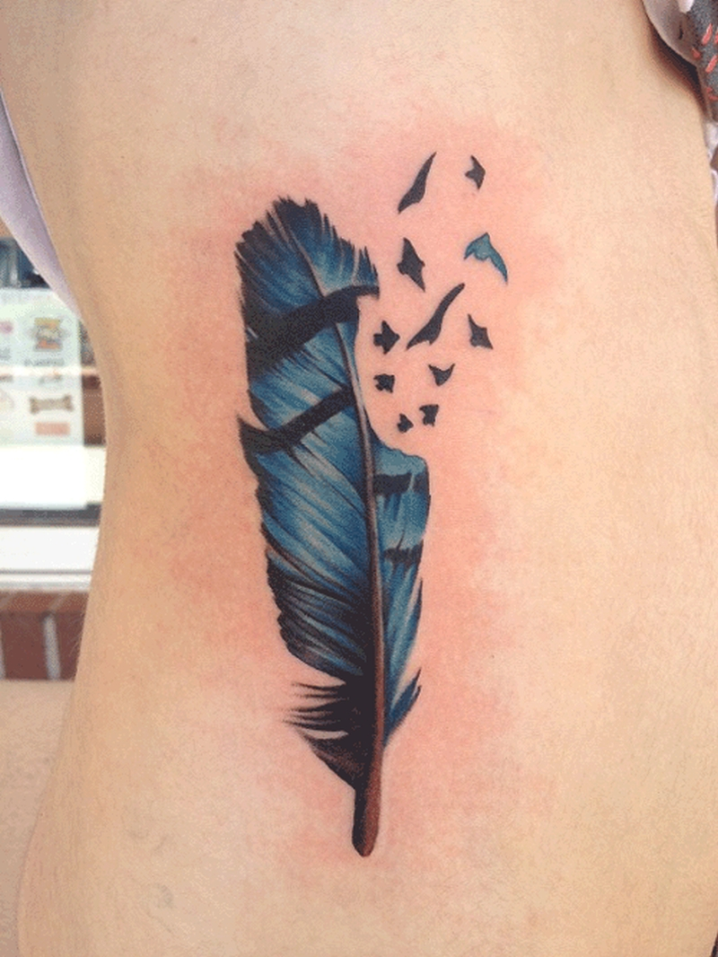 Blue And Black Feather Tattoo