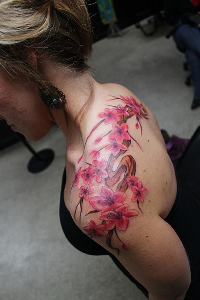 Cherry Blossom Branch Tattoo Shoulder