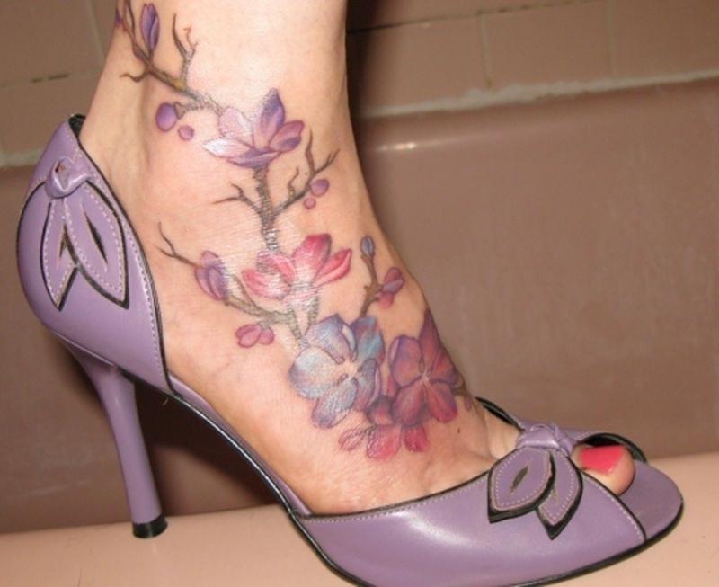 Cherry Blossom Foot Tattoo Designs