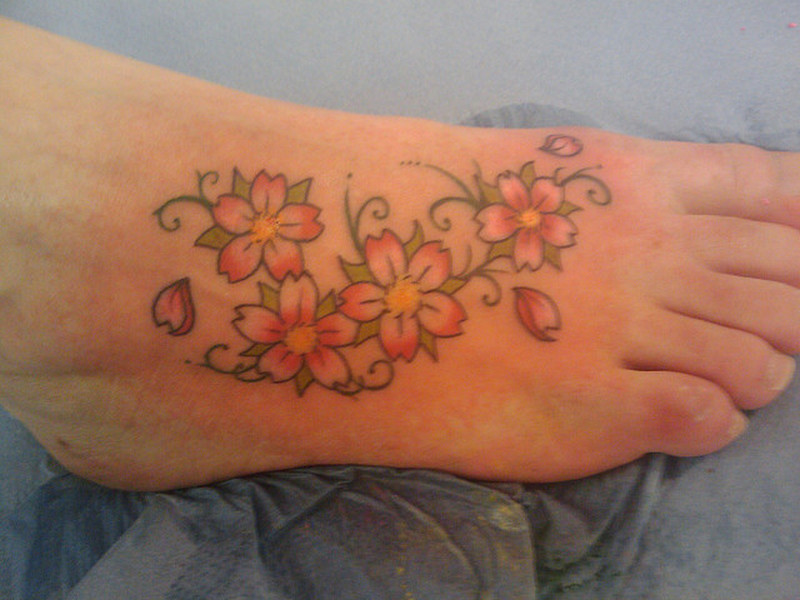 Chinese Cherry Blossom Tattoo On Foot