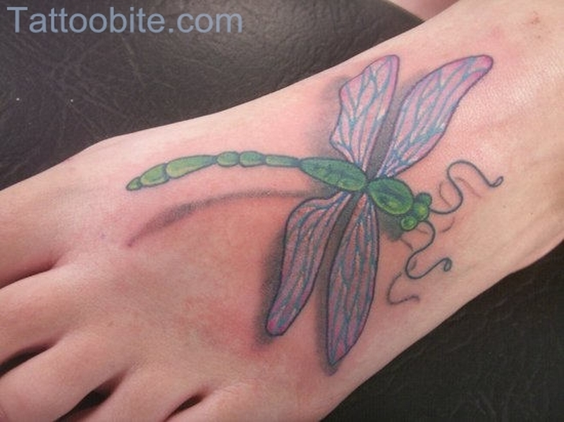 Classy Dragonfly Tattoo On Foot
