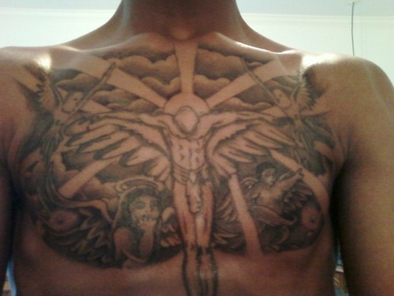 Cloud chest piece tattoos for men tattoos book for Angel in clouds tattoo
