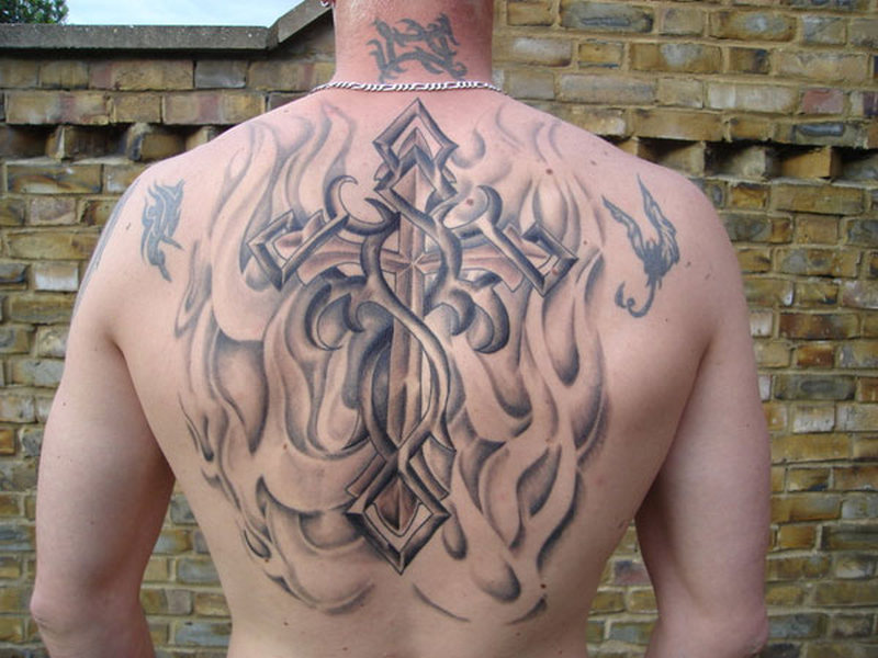 Croos Tattoos On Back For Men
