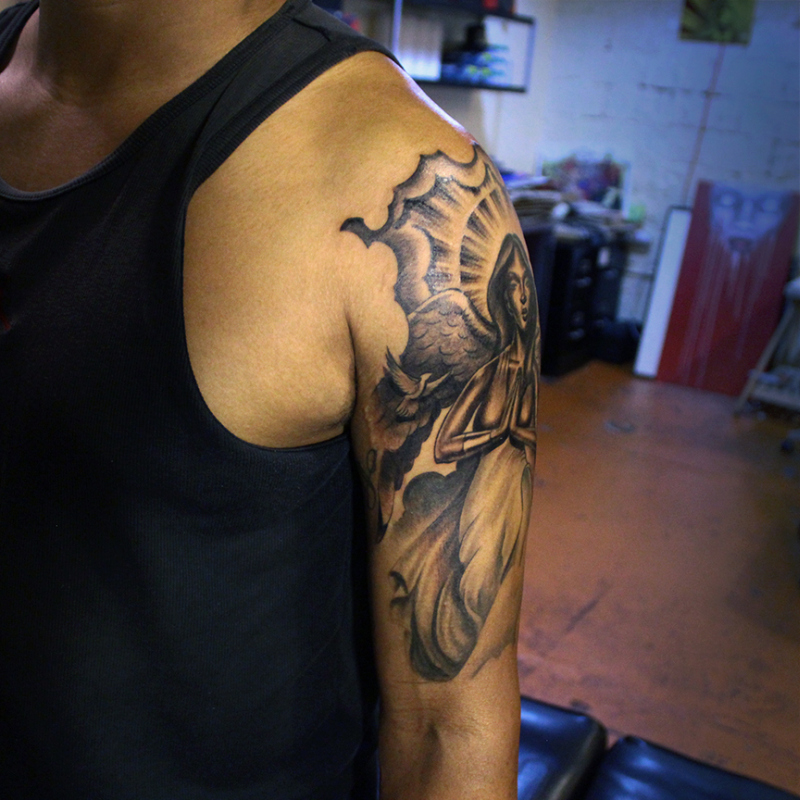 Cross And Angel Half Sleeve Tattoos