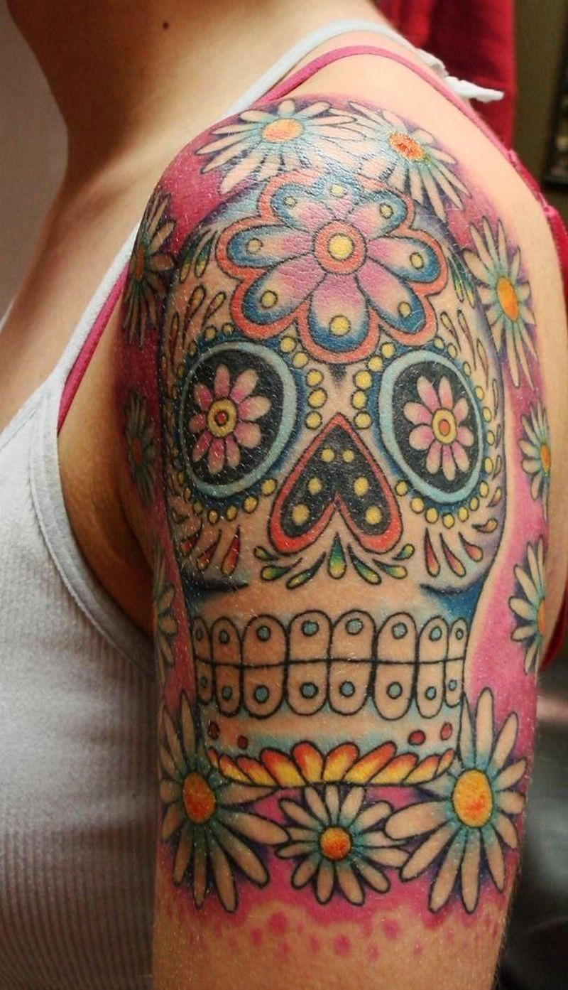 Day Of The Dead Skull Tattoo 2