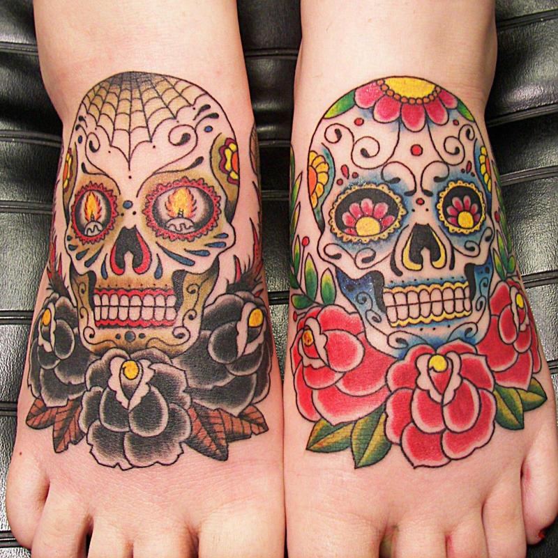 Day Of The Dead Skull Tattoos