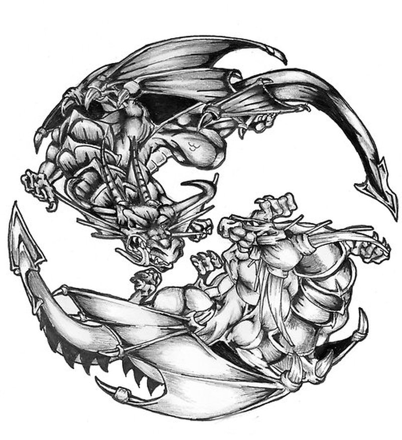 Dragon And Yin Yang Tattoos Pictures