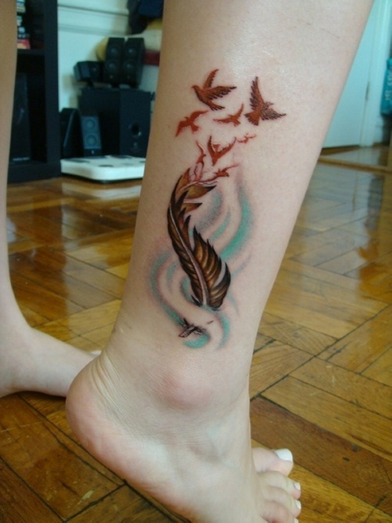 Feather With Birds Tattoo
