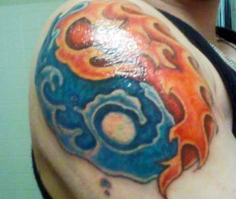 Fire and Water Yin Yang1 tattoo