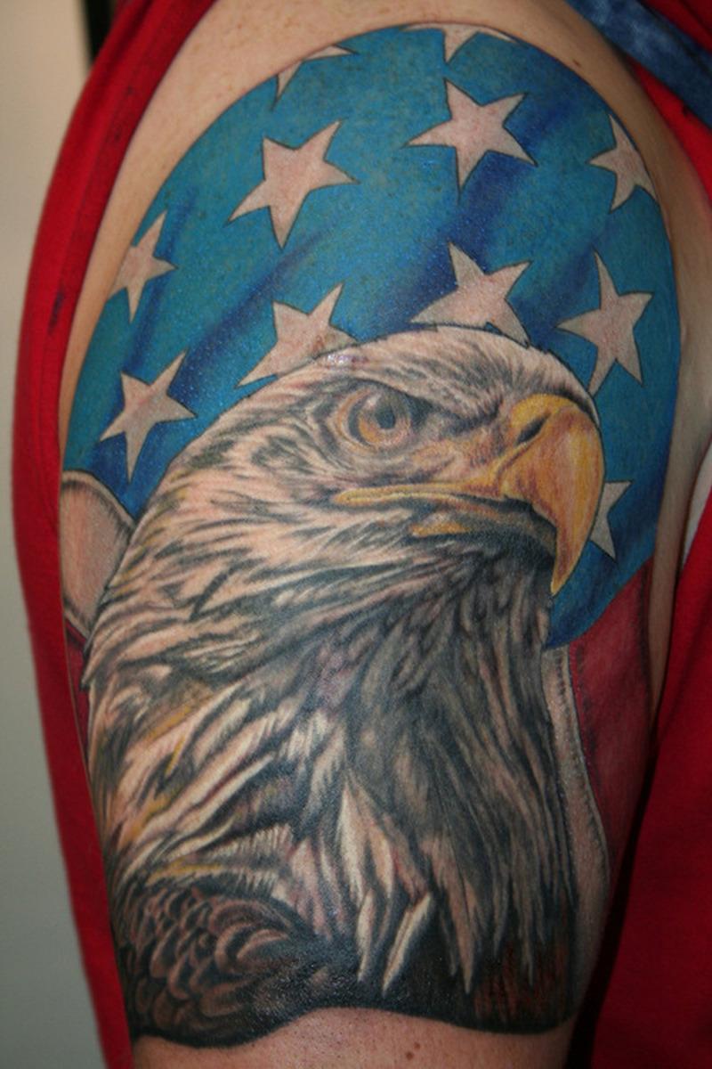 Flag And Eagle Tattoos