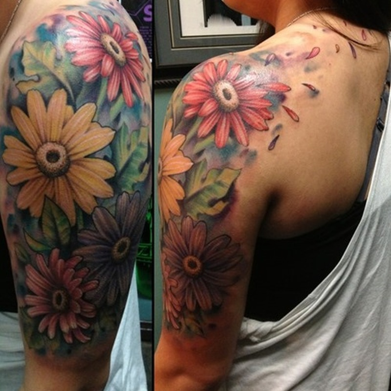 Flower Half Sleeve Tattoos For Women