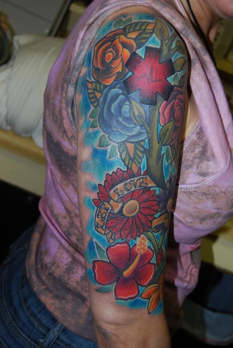 Flower Half Sleeve Tattoos Gallery