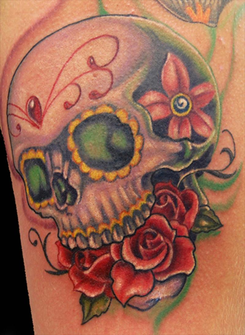 Half Sleeve Skull Tattoos For Girls