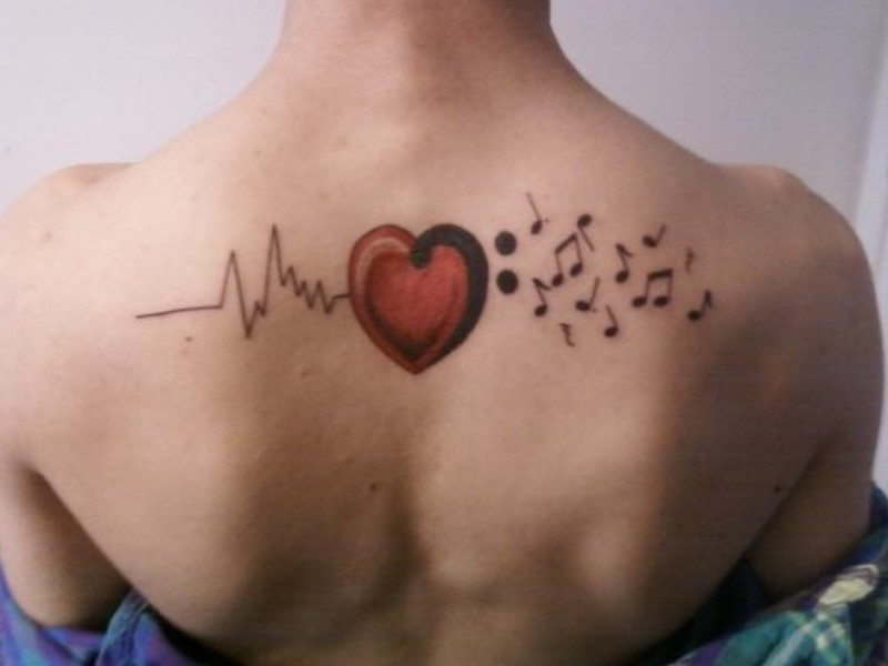 Hearts And Music Notes Tattoos
